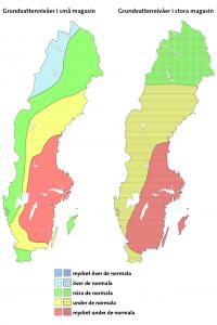 Karte mit den schwedischen Grundwasserniveaus.