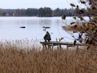 Ein Angler am Hönshyltefjorden in Schweden.